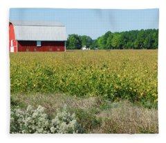 Red Barn In Pasture Fleece Blanket