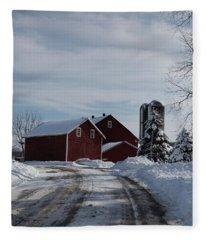 Red Barn In The Snow Fleece Blanket