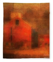 Red Barn Square Fleece Blanket