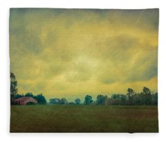 Red Barn Under Stormy Skies Fleece Blanket