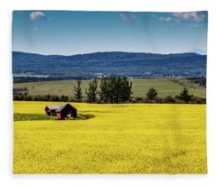 Red Barns In A Sea Of Canola Fleece Blanket
