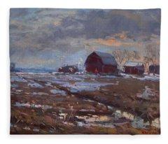 Red Barns In The Farm Fleece Blanket