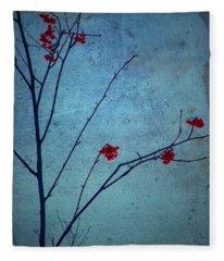 Red Berries Blue Sky Fleece Blanket