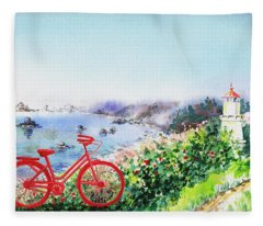 Red Bicycle At The Shore Fleece Blanket