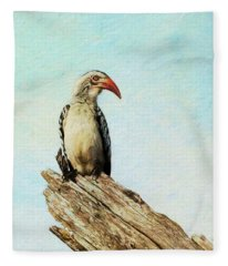 Red Billed Hornbill Fleece Blanket