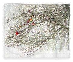 Red Bird Convention Fleece Blanket