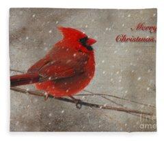 Red Bird In Snow Christmas Card Fleece Blanket
