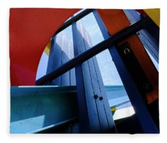 Red Blue And Yellow In Downtown Orlando Florida Fleece Blanket
