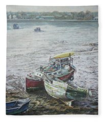 Red Boat Wreck Southampton Fleece Blanket