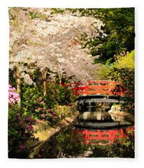 Red Bridge Reflection Fleece Blanket