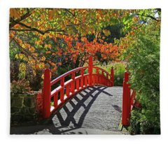 Red Bridge With Shadows Fleece Blanket