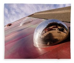 Red Bubble On A Downtown Wall Outside With Reds And Sky In Grand Rapids Michigan Fleece Blanket