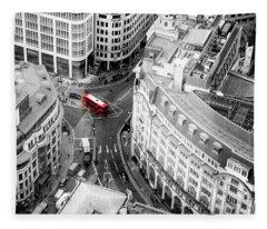 Red Bus Of London Fleece Blanket