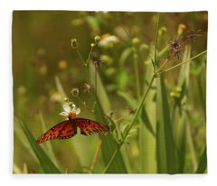 Red Butterfly In Daisy Field Fleece Blanket
