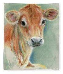 Red Calf Portrait Fleece Blanket