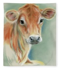 Red Calf Portrait Fleece Blanket