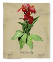 Red Canna Lily Botanical Fleece Blanket