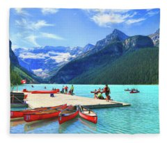 Red Canoes  Of Lake Louise - Banff National Park Canada Fleece Blanket