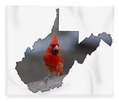 Red Cardinal Looking For Food Fleece Blanket