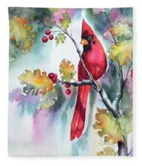 Red Cardinal With Berries Fleece Blanket