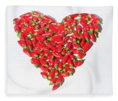 Red Chillie Heart II Fleece Blanket
