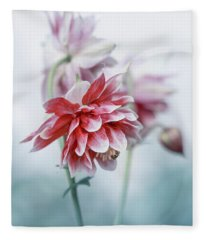 Red Columbines Fleece Blanket