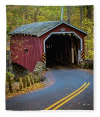 Red Covered Bridge In Lancaster County Park Fleece Blanket