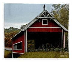 Red Covered Bridge Fleece Blanket