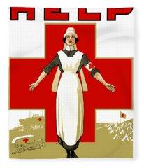 Red Cross Nurse - Help Fleece Blanket