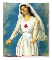 Red Cross Nurse - Ww1 Fleece Blanket