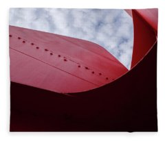 Red Curved Metal Looking Up At The Blue Sky In Grand Rapids Michigan Fleece Blanket