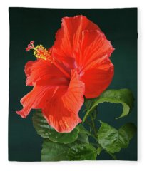 Red Darling Hibiscus Fleece Blanket