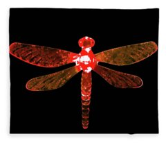 Red Dragonfly Fleece Blanket