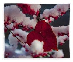 Red Fall Leaf On Snowy Red Berries Fleece Blanket