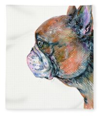 Red Fawn Frenchie Fleece Blanket