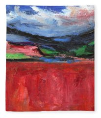Red Field Landscape Fleece Blanket