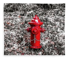 Red Fire Hydrant Fleece Blanket