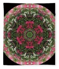 Red Flower Faces Kaleidoscope Fleece Blanket