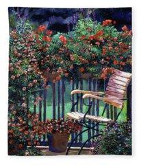 Red Flowers Garden Chair Fleece Blanket