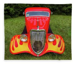 Red Ford Hot Rod With Flames Fleece Blanket