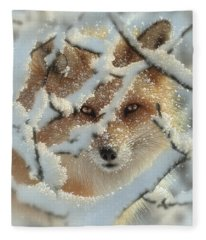 Red Fox - Hide And Seek Fleece Blanket