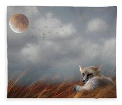 Red Fox In The Moonlight Fleece Blanket