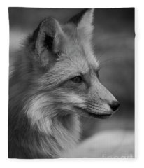 Red Fox Portrait In Black And White Fleece Blanket