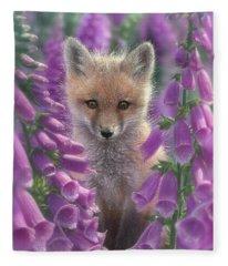 Red Fox Pup - Foxgloves Fleece Blanket