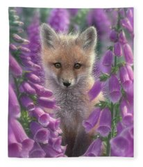 Red Fox Pup - Foxgloves Fleece Blanket