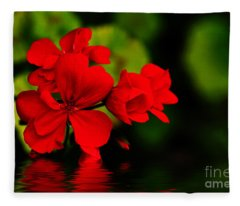 Red Geranium On Water Fleece Blanket