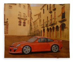 Red Gt3 Porsche Fleece Blanket