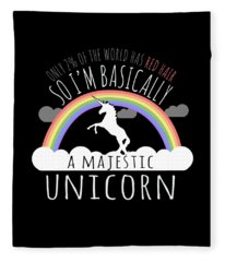 Red Hair Majestic Unicorn Funny Redhead Fleece Blanket