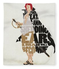 Red-haired Shanks Typography Art Fleece Blanket