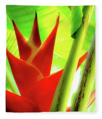 Red Heliconia Plant Fleece Blanket